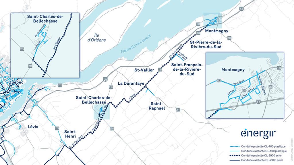 Porlongement du réseau de gaz naturel Bellechasse-Montmagny